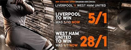 Bet on Liverpool vs West Ham