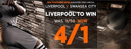 Bet on Liverpool vs Swansea