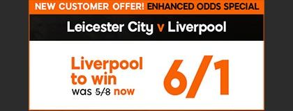 Bet on Leicester vs Liverpool