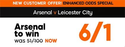 Bet on Arsenal vs Leicester