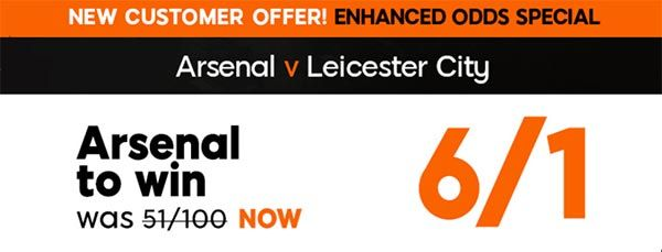 Gunners vs Foxes Bet and Enhanced Odd