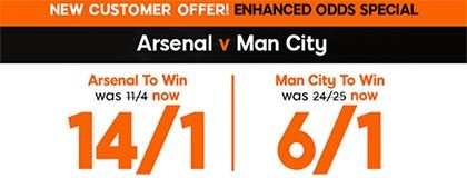 Bet on the match Gunners vs Citizens