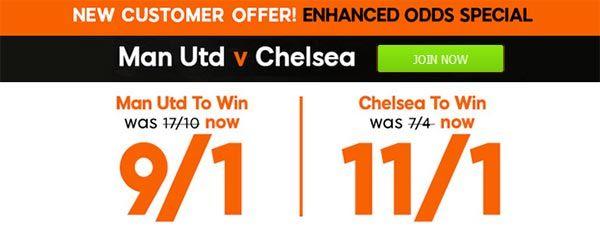 United vs Chelsea Bet and Enhanced Odd