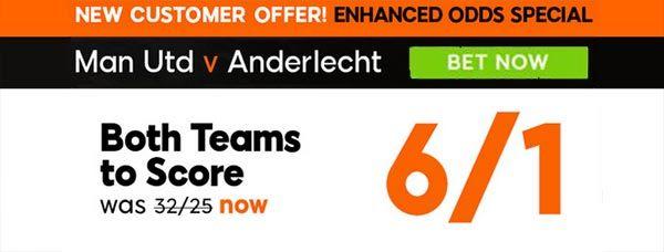 Manchester vs Anderlecht Bet and Enhanced Odd