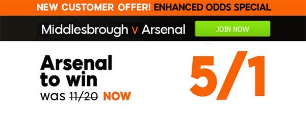 Boro vs Gunners Bet and Enhanced Odd