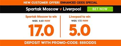 Bet on match Spartak vs Liverpool