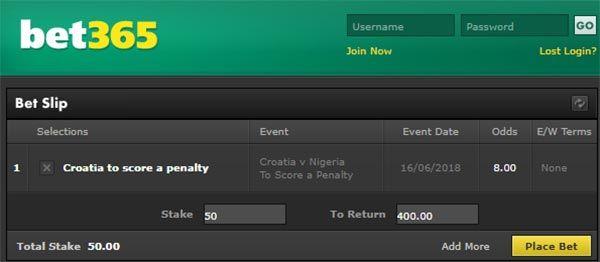 Croatia vs Nigeria Bet on Penalty