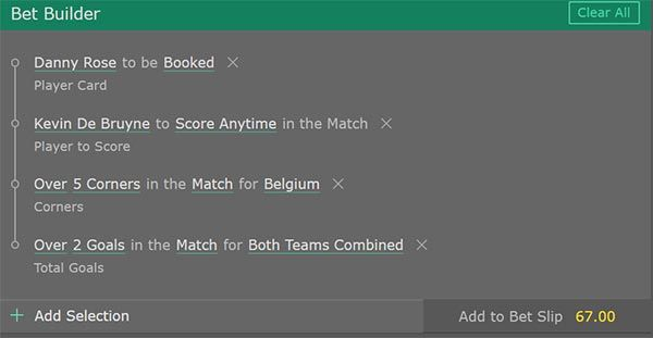 England vs Belgium Bet Builder