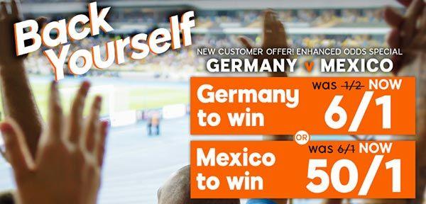 Germany vs Mexico Bet and Enhanced Odd