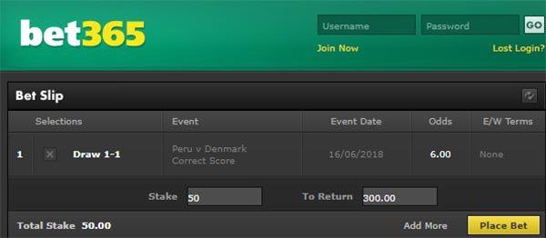 Peru vs Denmark Bet on Correct Score