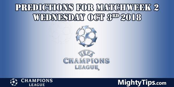 Champions League Matchweek 2 Wednesday Prediction and Betting Tips