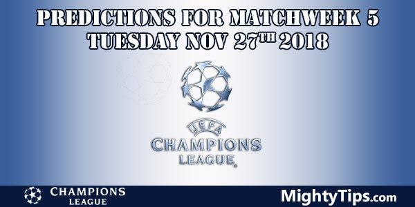 Champions League Matchweek 5 Tuesday Prediction and Betting Tips