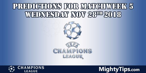 Champions League Matchweek 5 Wednesday Prediction and Betting Tips