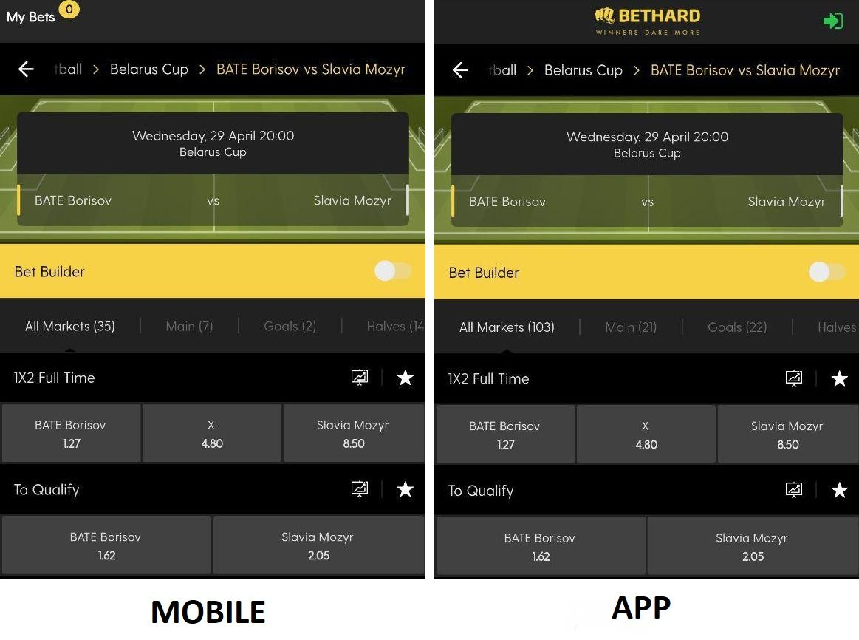 bethard interface mobile vs app