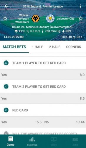 22bet - Team player to get red card