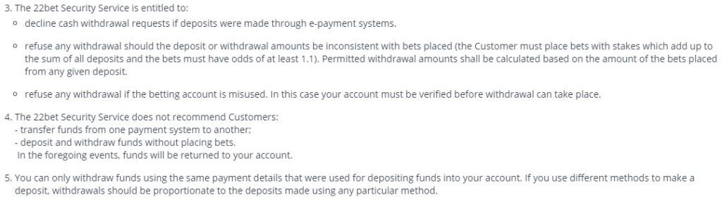 22bet - different Deposit and Withdrawal methods - T&C quote