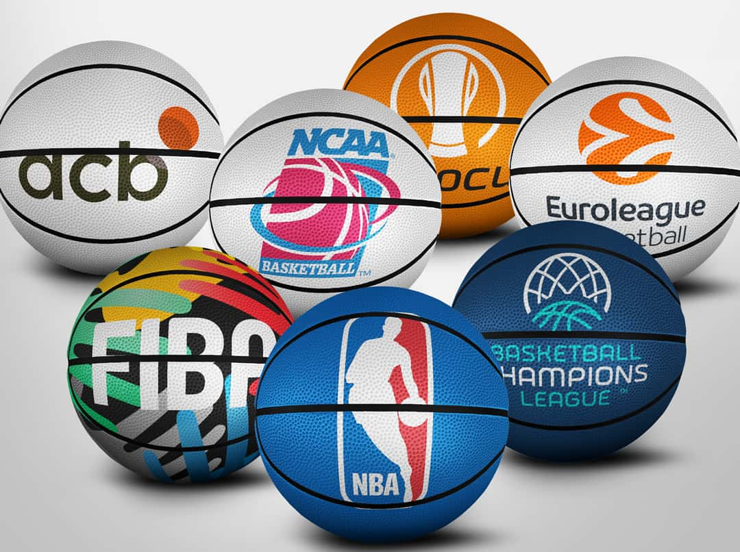 basketball balls with nba, acb, ncaa, fiba logos