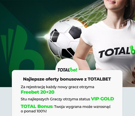 Totalbet oferty bonusowe: Freebet 20+20, VIP Gold, Total Bonus