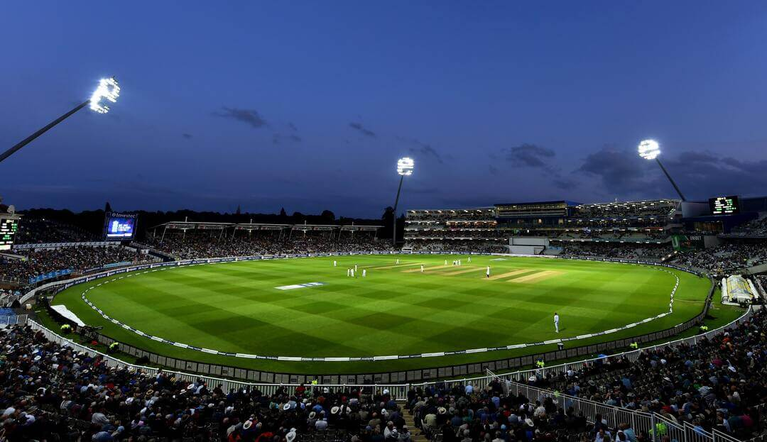 lighted out cricket field in evening