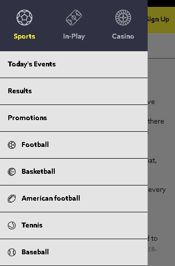 FunBet Screenshot of Sports Menu