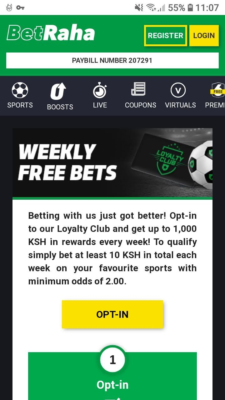 Earn up to 1000 KSH in free bets every week