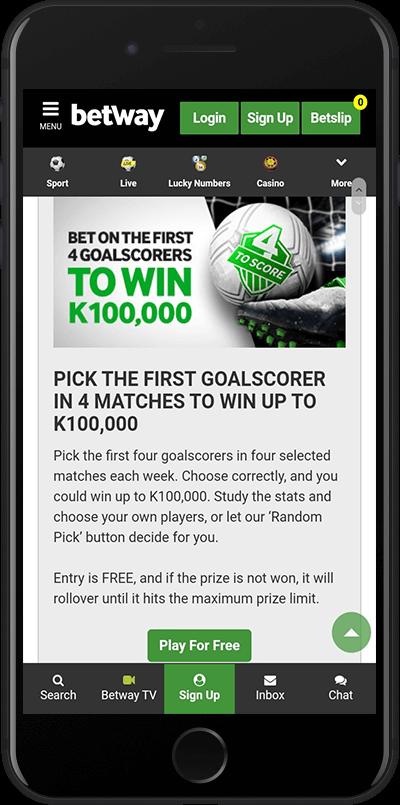 betway zambia goalscorer bonus