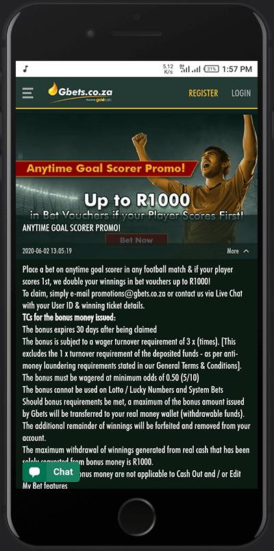 Goalscorer promo bonus gbets