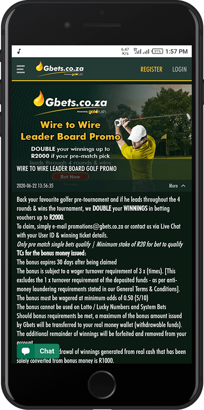 Golf leaderboard promo gbets