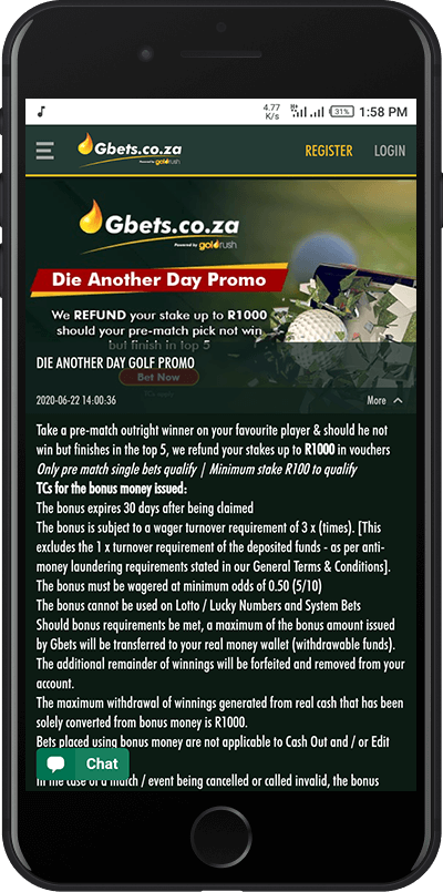 gbets golf promo bonus