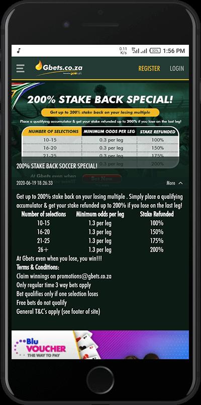 Stake back bonus gbets