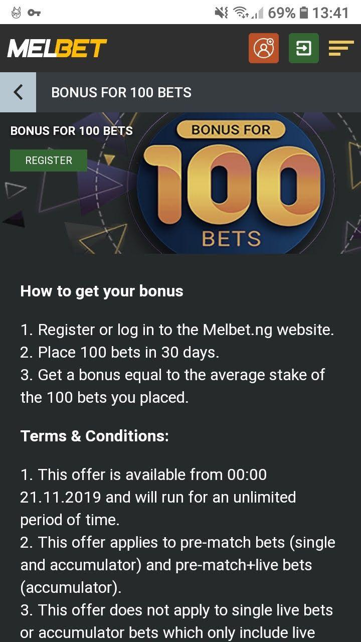 melbet bonus for 100 bets