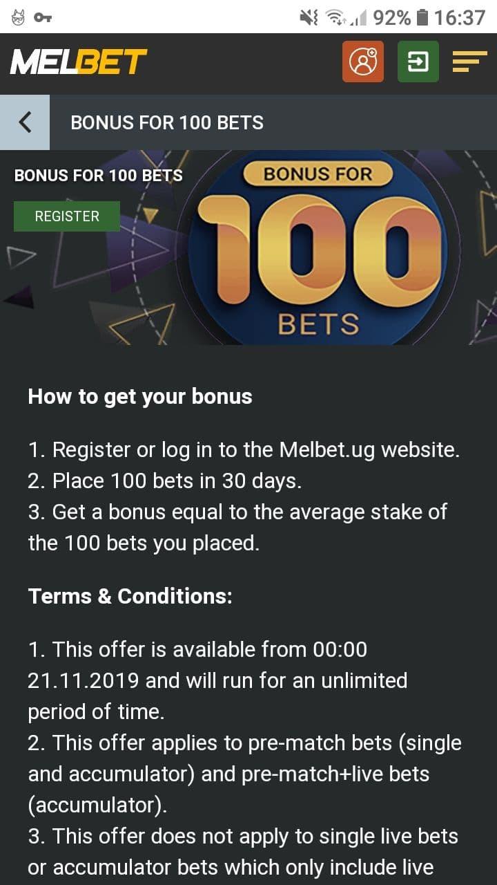 melbet 100 bets bonus